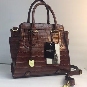 NWT London fog Mahogany croco fashion satchels Bag